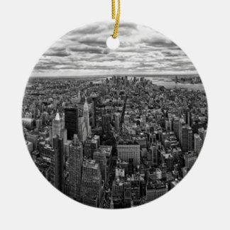 New York Skyline Round Ceramic Ornament
