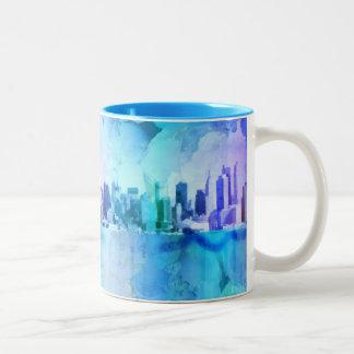 New York Skyline Two-Tone Coffee Mug