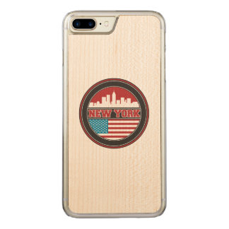 New York Skyline | United States Flag Carved iPhone 8 Plus/7 Plus Case