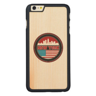 New York Skyline | United States Flag Carved Maple iPhone 6 Plus Case