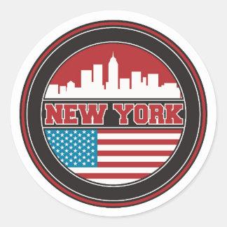 New York Skyline   United States Flag Classic Round Sticker