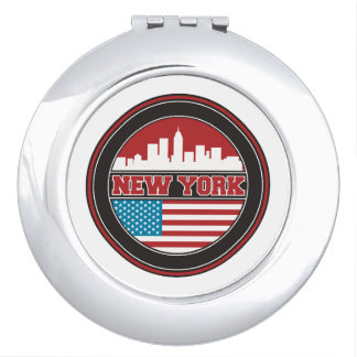 New York Skyline | United States Flag Compact Mirror