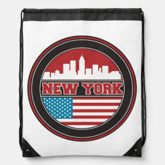 New York Skyline | United States Flag Drawstring Bag