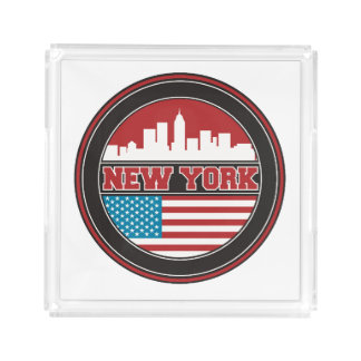 New York Skyline | United States Flag Serving Tray