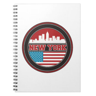 New York Skyline | United States Flag Spiral Notebook