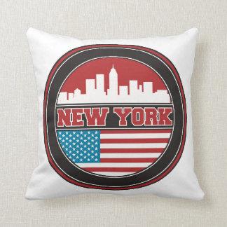 New York Skyline | United States Flag Throw Pillow