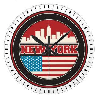 New York Skyline | United States Flag Wallclocks
