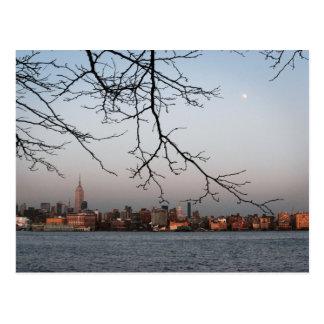 New York Skyline with Moon Postcard