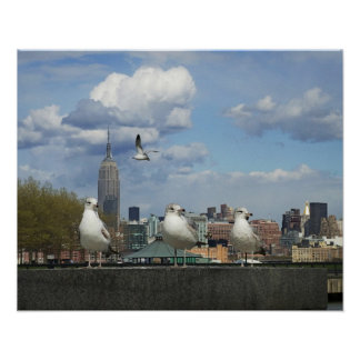 New York Skyline with Seagulls Poster