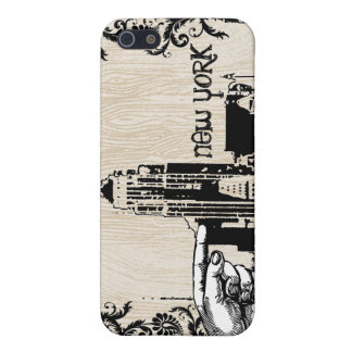 New York Skyline Wood Grain Damask iPhone Case For The iPhone 5