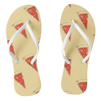 New York Slice NYC Pepperoni Pizza Print Foodie Flip Flops