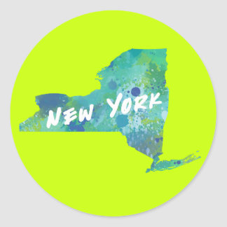New York Splatter Paint Map, Neon Yellow / Green Round Sticker