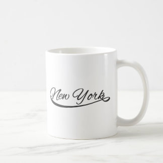 new york sporty style handwriting classic white coffee mug