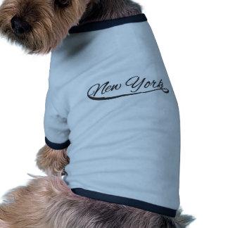 new york sporty style handwriting dog tshirt