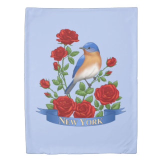 New York State Bird and Flower Duvet Cover