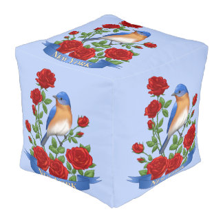 New York State Bird and Flower Pouf
