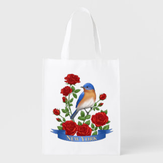 New York State Bird and Flower Reusable Grocery Bag