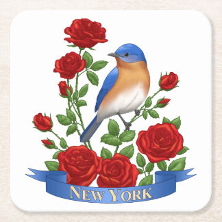 New York State Bird and Flower Square Paper Coaster