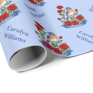 New York State Bird and Flower Wrapping Paper