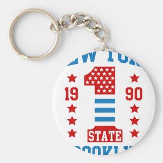 New york state Brooklyn Basic Round Button Keychain