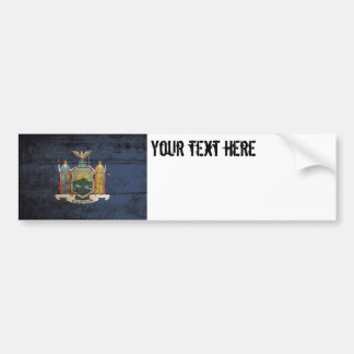 New York State Flag on Old Wood Grain Bumper Sticker