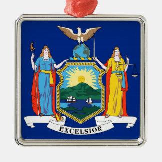 New York State Flag Silver-Colored Square Ornament