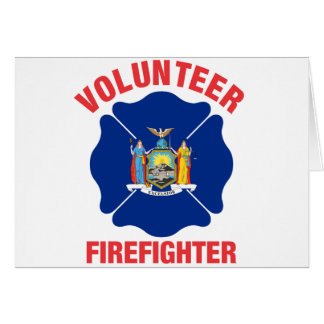 New York State Flag Volunteer Firefighter Cross Card