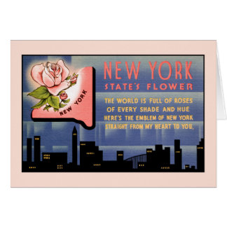 New York state flower vintage greetings from Card