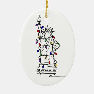 New York Statue Liberty Christmas Lights Ornament