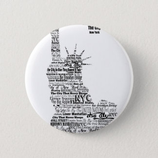 New York Statue Of Liberty Contoured in Words 2 Inch Round Button