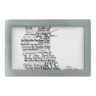 New York Statue Of Liberty Contoured in Words Belt Buckle