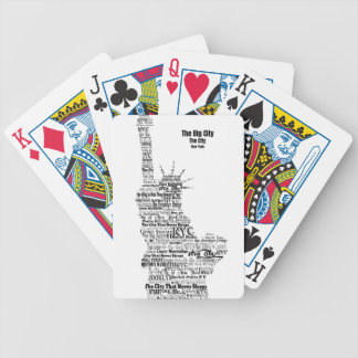 New York Statue Of Liberty Contoured in Words Bicycle Playing Cards
