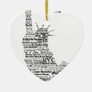 New York Statue Of Liberty Contoured in Words Ceramic Ornament
