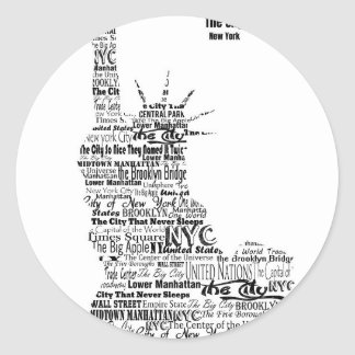 New York Statue Of Liberty Contoured in Words Classic Round Sticker