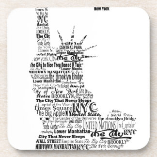 New York Statue Of Liberty Contoured in Words Coaster