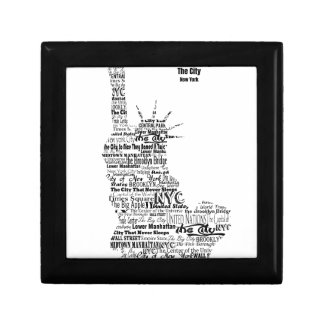 New York Statue Of Liberty Contoured in Words Gift Box
