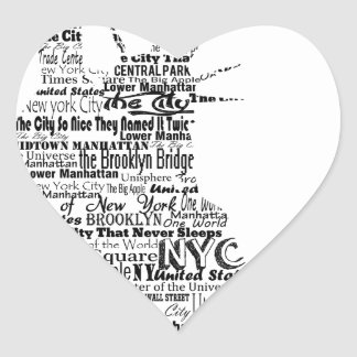 New York Statue Of Liberty Contoured in Words Heart Sticker