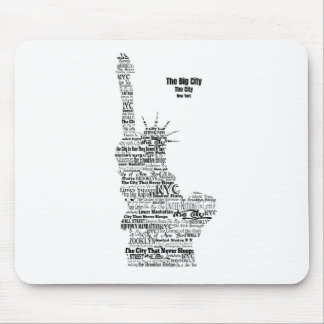 New York Statue Of Liberty Contoured in Words Mouse Pad