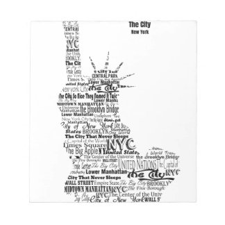 New York Statue Of Liberty Contoured in Words Notepad