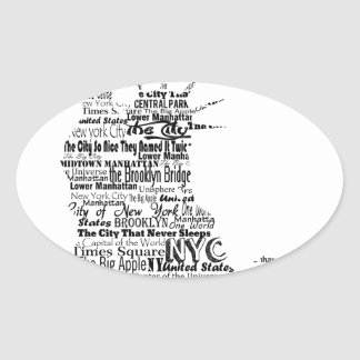 New York Statue Of Liberty Contoured in Words Oval Sticker
