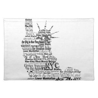 New York Statue Of Liberty Contoured in Words Placemat