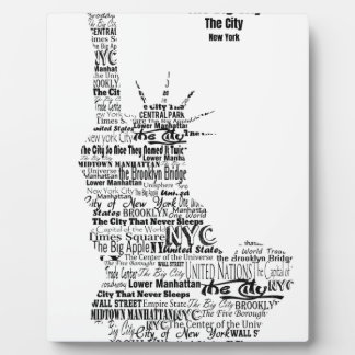 New York Statue Of Liberty Contoured in Words Plaque