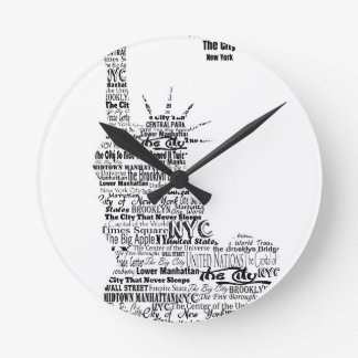 New York Statue Of Liberty Contoured in Words Round Clock