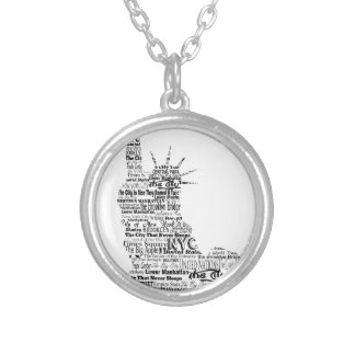 New York Statue Of Liberty Contoured in Words Silver Plated Necklace
