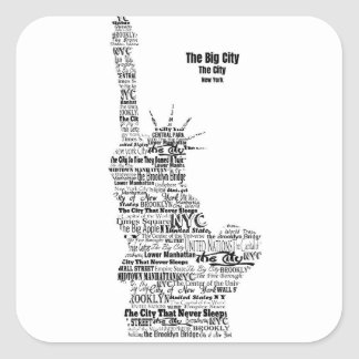 New York Statue Of Liberty Contoured in Words Square Sticker