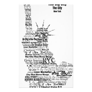 New York Statue Of Liberty Contoured in Words Stationery