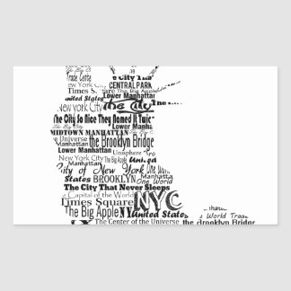 New York Statue Of Liberty Contoured in Words Sticker
