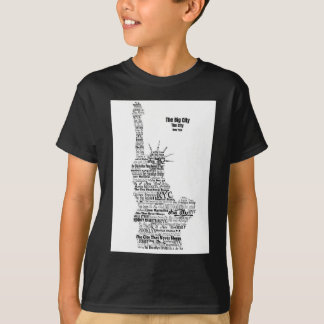 New York Statue Of Liberty Contoured in Words T-Shirt