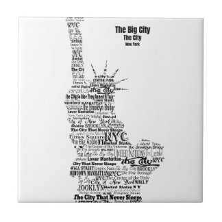 New York Statue Of Liberty Contoured in Words Tile