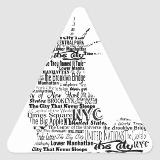 New York Statue Of Liberty Contoured in Words Triangle Sticker